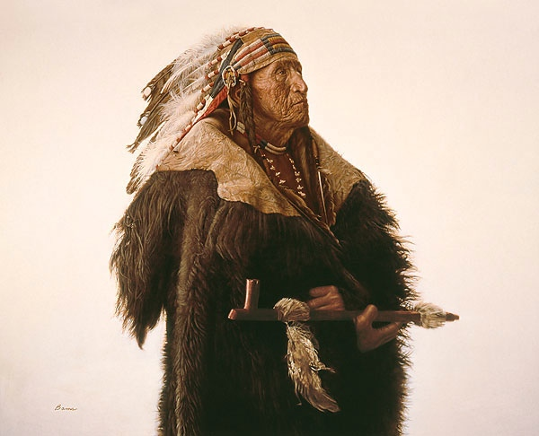 James Bama Crow Indian With Peace Pipe