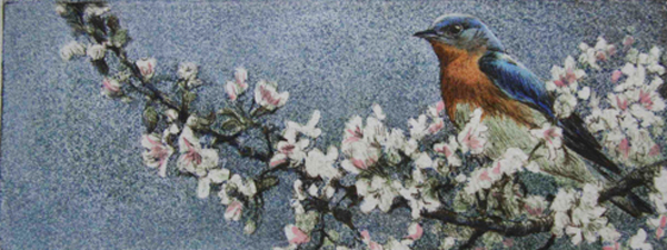 Robert Bateman Bluebird and Blossoms Original Lithograph