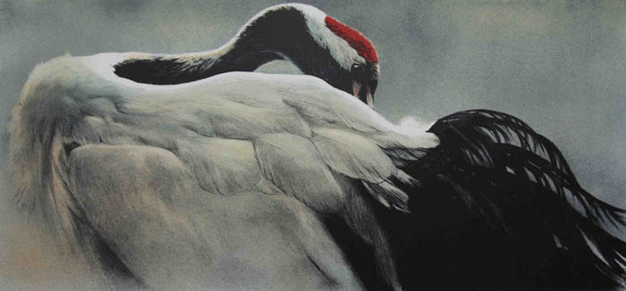 Robert Bateman Ceremonial Pose Red Crowned Crane