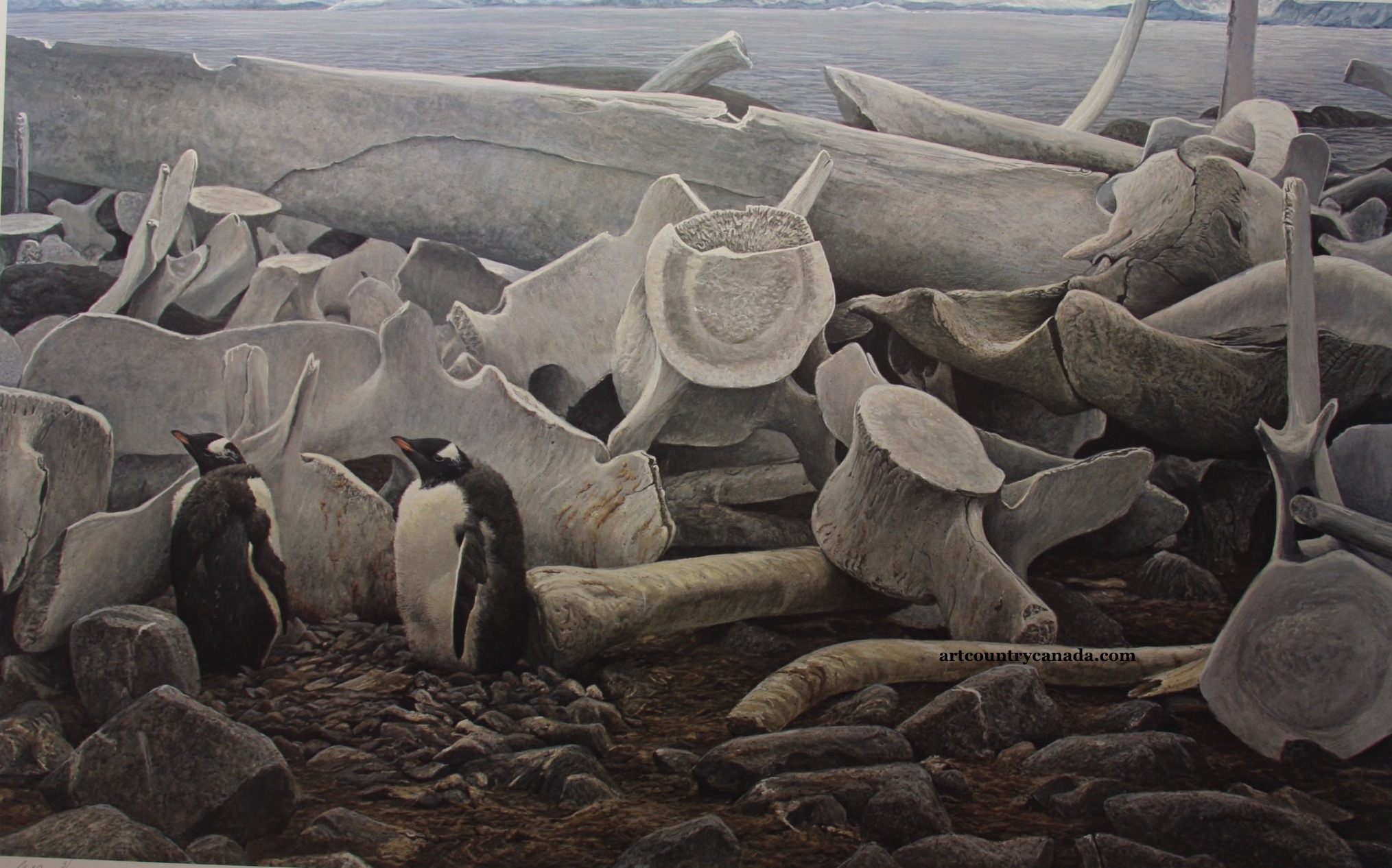 Robert Bateman Gentoo Penguins and Whale Bones