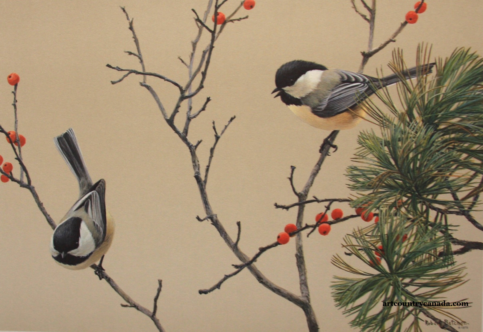 Robert Bateman Lively Pair Chickadees