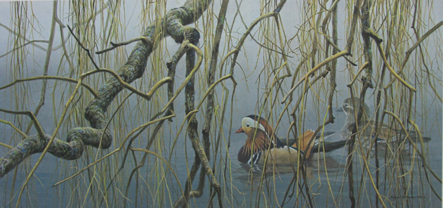 Robert Bateman Old Willow Mandarin Pair