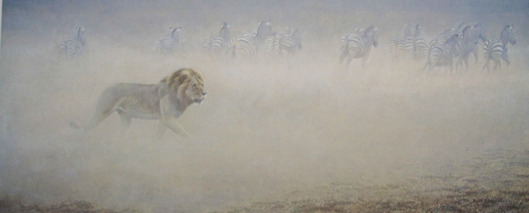 Robert Bateman Out of Rangel Lion and Zebra