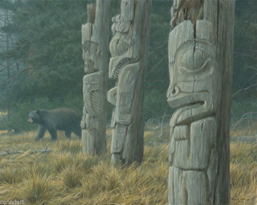 Robert Bateman Black Bear and Totem Pole