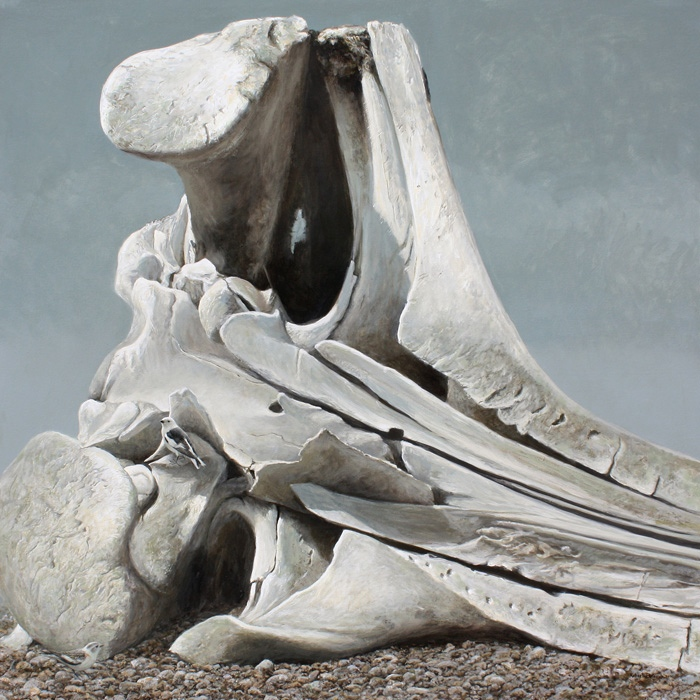Robert Bateman Bowhead Whale Skull and Snow Buntings