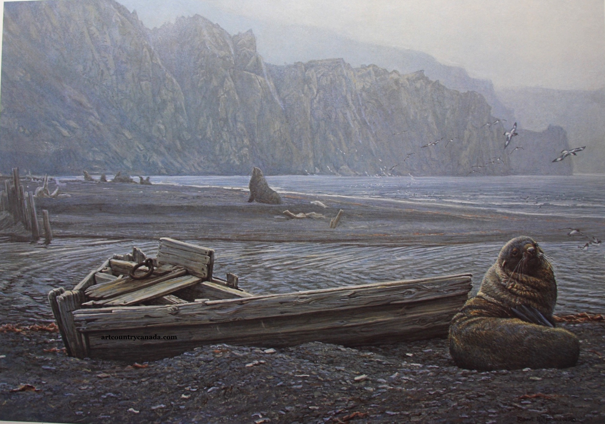 Robert Bateman Old Whaling Base and Fur Seals
