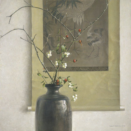 Robert bateman Still Life With Chinese Scroll