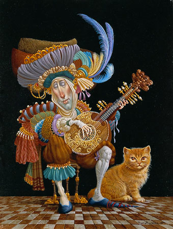 James Christensen Serenade For an Orange Cat