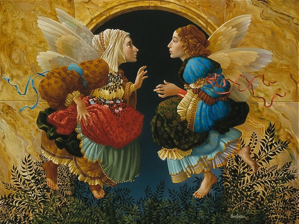 James Christensen Two Angels Discussing Botticelli