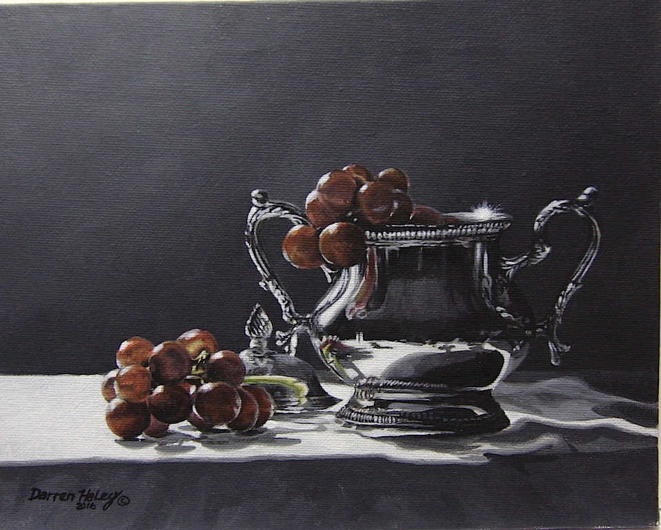 Silver Bowl and Grapes