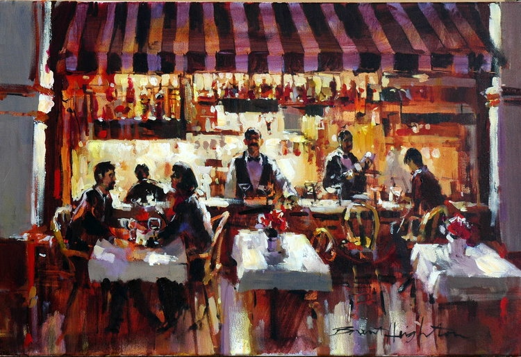 Brent Heighton Happy Hour Original Acrylic on CanvasA