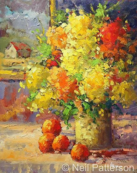Neil Patterson Flowers and Oranges Oil Painting