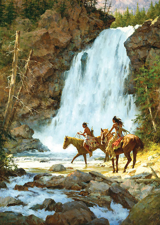 Howard Terpning Crossing Below The Falls